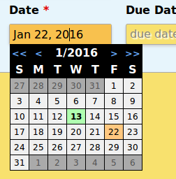 Example of the Date Edit Widget with the dropdown calendar open.